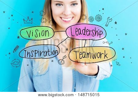 Leadership Concept With Young Woman