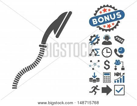 Flexible Shower pictograph with bonus images. Vector illustration style is flat iconic bicolor symbols, cobalt and gray colors, white background.