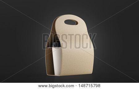 Beige container for coffee to go standing against black background. Concept of office employee's breakfast and fast food. 3d rendering. Mock up