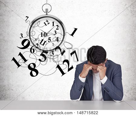 Asian Businessman Intimidated By Time