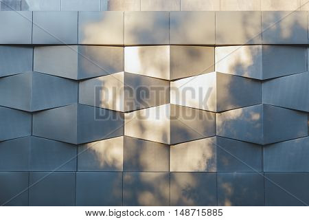 Wall of black metal futuristic new building. Abstract architectural pattern