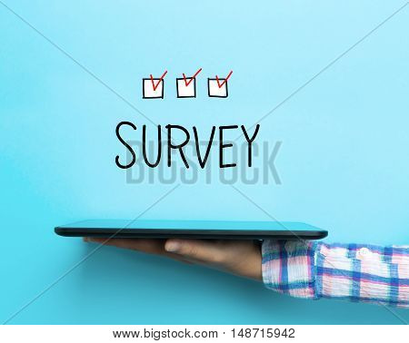Survey Concept With A Tablet