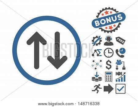 Flip icon with bonus symbols. Vector illustration style is flat iconic bicolor symbols, cobalt and gray colors, white background.
