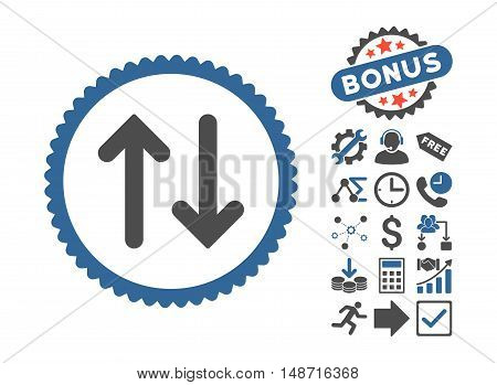 Flip icon with bonus elements. Vector illustration style is flat iconic bicolor symbols, cobalt and gray colors, white background.