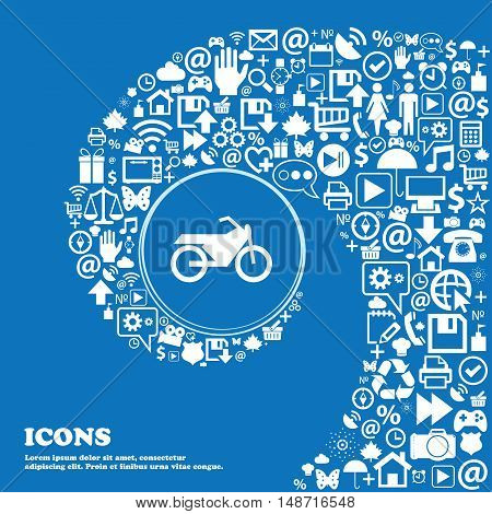 Motorbike Icon Sign. Nice Set Of Beautiful Icons Twisted Spiral Into The Center Of One Large Icon. V