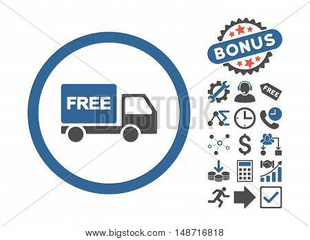 Free Delivery pictograph with bonus pictures. Vector illustration style is flat iconic bicolor symbols, cobalt and gray colors, white background.