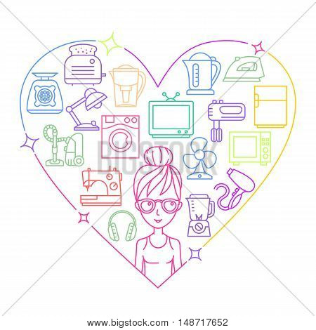 Appliances and woman colored frame heart vector illustration