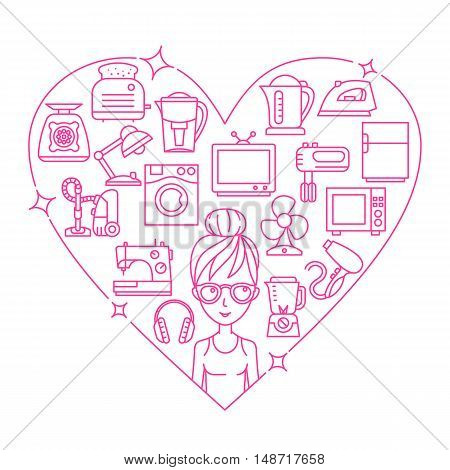 Appliances and woman frame heart vector illustration thin line flat