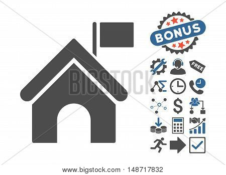 Government Building icon with bonus design elements. Vector illustration style is flat iconic bicolor symbols, cobalt and gray colors, white background.