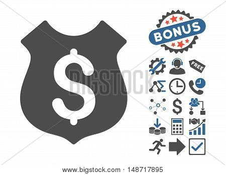 Guard Price icon with bonus clip art. Vector illustration style is flat iconic bicolor symbols, cobalt and gray colors, white background.