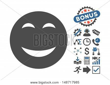 Happy pictograph with bonus elements. Vector illustration style is flat iconic bicolor symbols, cobalt and gray colors, white background.