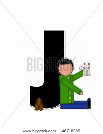 The letter J in the alphabet set