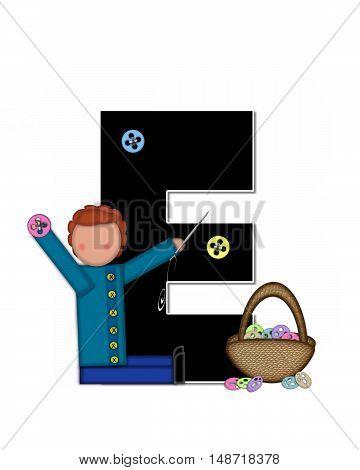 Alphabet Children Sewing E