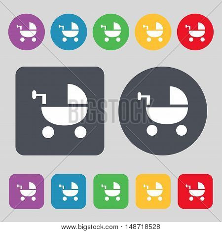 Baby Stroller Icon Sign. A Set Of 12 Colored Buttons. Flat Design. Vector