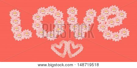Card Pink The Lotus Flower In The Shape Of A Heart On A Red Background. Vector Illustration