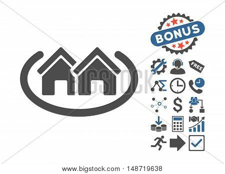 Houses Area icon with bonus clip art. Vector illustration style is flat iconic bicolor symbols, cobalt and gray colors, white background.