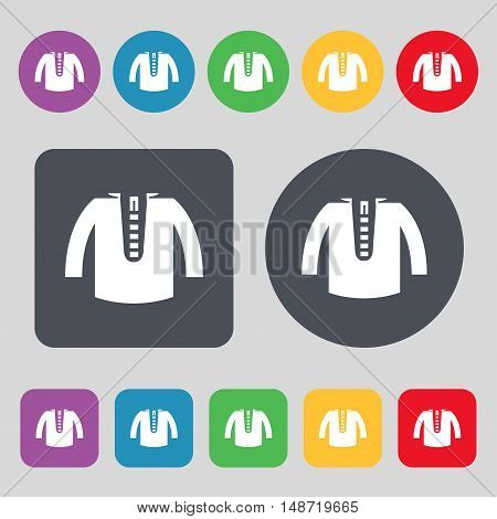 Casual Jacket Icon Sign. A Set Of 12 Colored Buttons. Flat Design. Vector