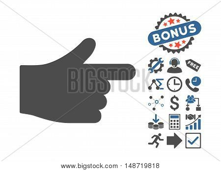 Index Hand icon with bonus pictures. Vector illustration style is flat iconic bicolor symbols, cobalt and gray colors, white background.