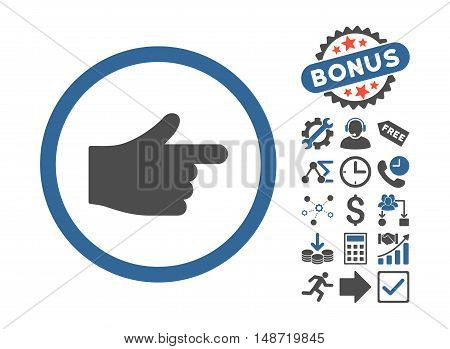 Index Pointer pictograph with bonus pictogram. Vector illustration style is flat iconic bicolor symbols, cobalt and gray colors, white background.