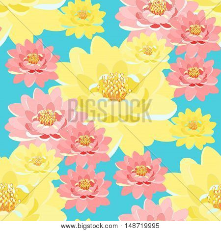 Seamless Pattern Lotus Flower Pink, Yellow, Close Up On A Blue Background. Vector Illustration