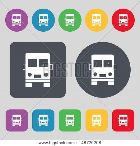 Truck Icon Sign. A Set Of 12 Colored Buttons. Flat Design. Vector