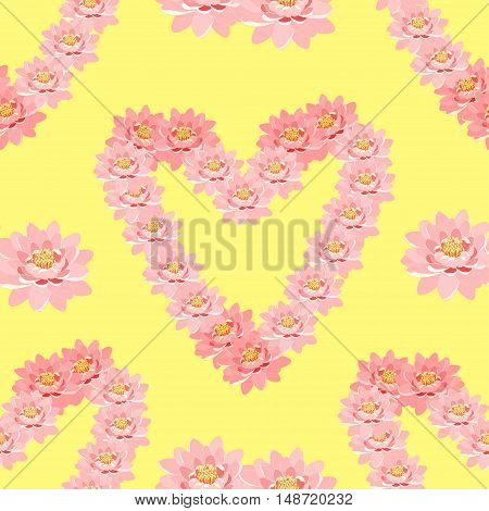 Seamless Pattern The Lotus Flower Pink In Heart Shape On A Yellow Background. Vector Illustration
