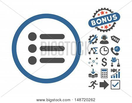 Items icon with bonus images. Vector illustration style is flat iconic bicolor symbols, cobalt and gray colors, white background.