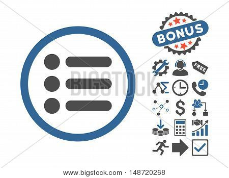 Items pictograph with bonus pictograph collection. Vector illustration style is flat iconic bicolor symbols, cobalt and gray colors, white background.