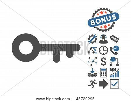 Key icon with bonus symbols. Vector illustration style is flat iconic bicolor symbols, cobalt and gray colors, white background.