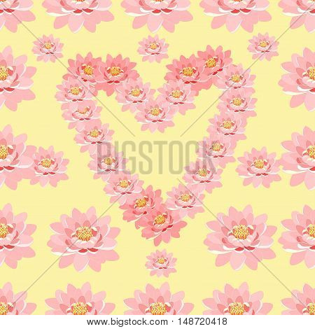 Seamless Pattern The Lotus Flower Pink In Heart Shape. Vector Illustration