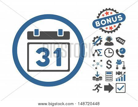 Last Month Day pictograph with bonus images. Vector illustration style is flat iconic bicolor symbols, cobalt and gray colors, white background.