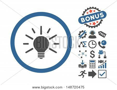 Light Bulb icon with bonus elements. Vector illustration style is flat iconic bicolor symbols, cobalt and gray colors, white background.