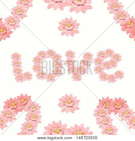 Seamless Pattern The Lotus Flower Pink In The Form Of The Word Love. Vector Illustration