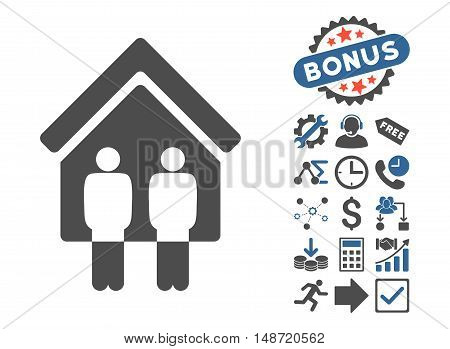 Living Persons pictograph with bonus images. Vector illustration style is flat iconic bicolor symbols, cobalt and gray colors, white background.