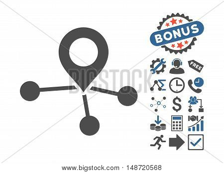 Locations pictograph with bonus pictograph collection. Vector illustration style is flat iconic bicolor symbols, cobalt and gray colors, white background.