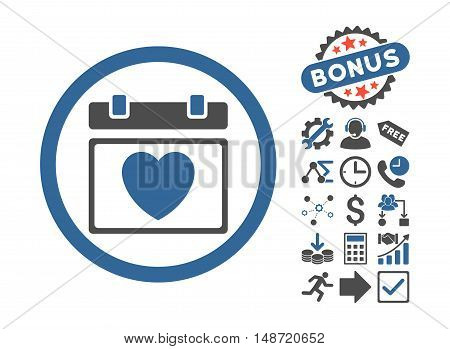 Lovely Calendar Date icon with bonus pictograph collection. Vector illustration style is flat iconic bicolor symbols, cobalt and gray colors, white background.