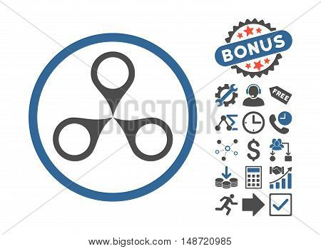 Map Markers pictograph with bonus pictures. Vector illustration style is flat iconic bicolor symbols, cobalt and gray colors, white background.