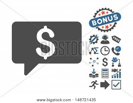 Money Message pictograph with bonus pictogram. Vector illustration style is flat iconic bicolor symbols, cobalt and gray colors, white background.