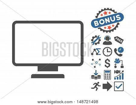 Monitor pictograph with bonus pictogram. Vector illustration style is flat iconic bicolor symbols, cobalt and gray colors, white background.