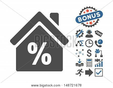Mortgage Discount pictograph with bonus elements. Vector illustration style is flat iconic bicolor symbols, cobalt and gray colors, white background.