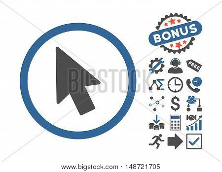 Mouse Pointer pictograph with bonus images. Vector illustration style is flat iconic bicolor symbols, cobalt and gray colors, white background.