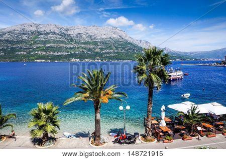 Overlook beautiful Adriatic sea in Korcula Croatia