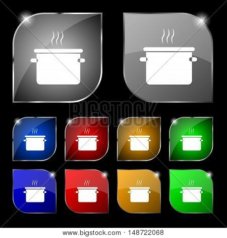 Pan Cooking Icon Sign. Set Of Ten Colorful Buttons With Glare. Vector