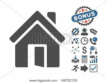 Open House Door icon with bonus images. Vector illustration style is flat iconic bicolor symbols, cobalt and gray colors, white background.