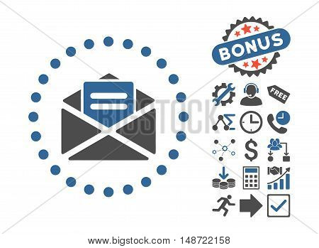 Open Mail pictograph with bonus design elements. Vector illustration style is flat iconic bicolor symbols, cobalt and gray colors, white background.