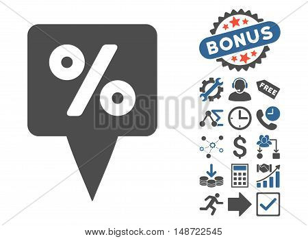 Percent Map Pointer icon with bonus symbols. Vector illustration style is flat iconic bicolor symbols, cobalt and gray colors, white background.
