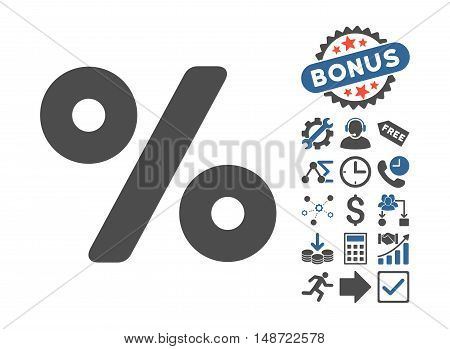 Percent pictograph with bonus symbols. Vector illustration style is flat iconic bicolor symbols, cobalt and gray colors, white background.