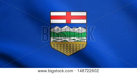 Albertan provincial official flag symbol. Canada banner and background. Canadian AB patriotic element. Flag of the Canadian province of Alberta waving in the wind with detailed fabric texture, illustration