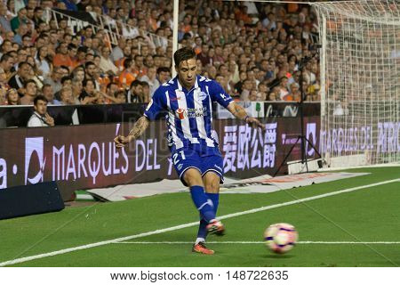 VALENCIA, SPAIN - SEPTEMBER 22nd: Kiko during Spanish soccer league match between Valencia CF and Deportivo Alaves at Mestalla Stadium on September 22, 2016 in Valencia, Spain