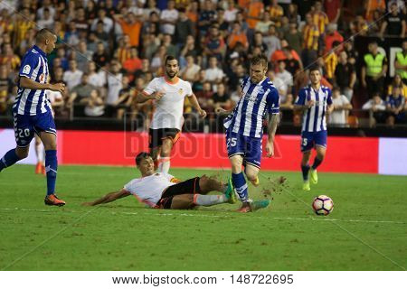 VALENCIA, SPAIN - SEPTEMBER 22nd: (25) Katai during Spanish soccer league match between Valencia CF and Deportivo Alaves at Mestalla Stadium on September 22, 2016 in Valencia, Spain